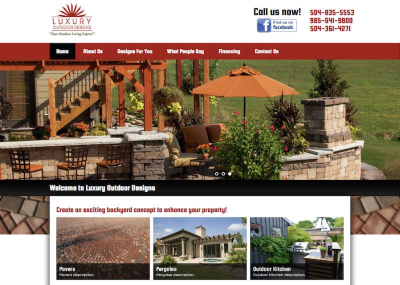 luxury outdoor designs custom wordpress website design ongoing