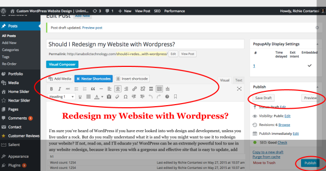 redesign my website with wordpress